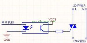 使用可控硅三极管MOS管的单片机控制220V交流电通断电路图解插图